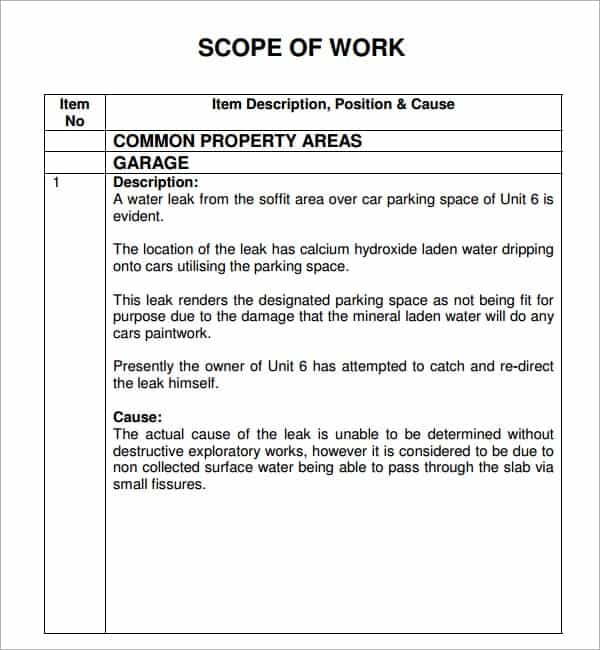 7 construction scope of work templates word excel pdf formats