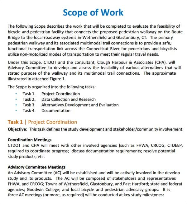 7 Construction scope of work templates Word Excel PDF Formats – Project Scope Template