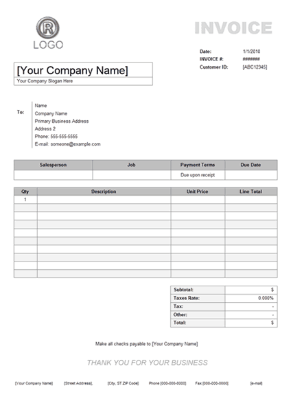 Brilliant Blank Service Or Maintenance Invoice Template Sample - Official invoice template