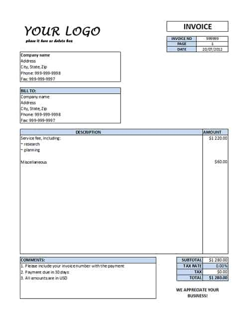 Printable Service Invoice Template  It Services Invoice Template