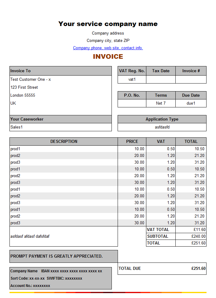 sample invoices archives - word templates, Invoice examples