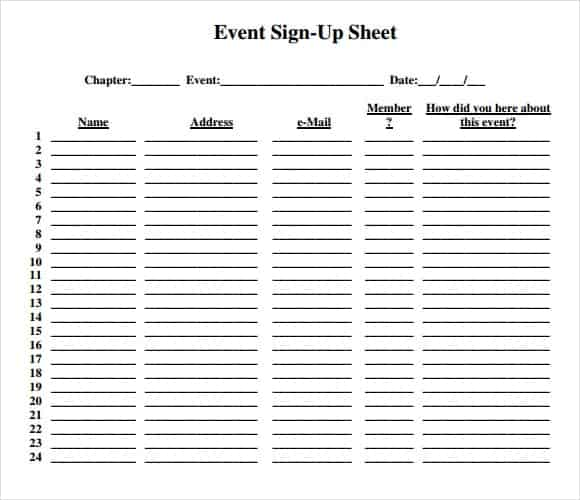 Free Sample Volunteer Sign In Sheet Templates  Printable Samples