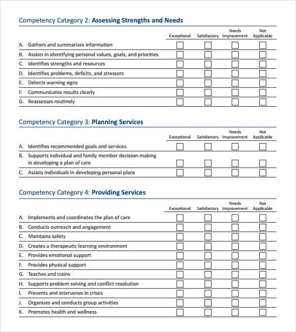 Skills Assessment Templates  Word Excel Pdf Formats