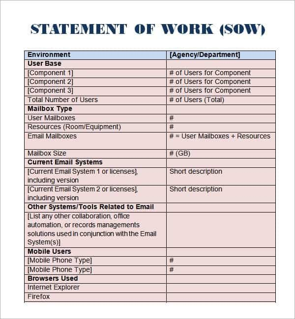 Statement Of Work Templates  Word Excel Pdf Formats