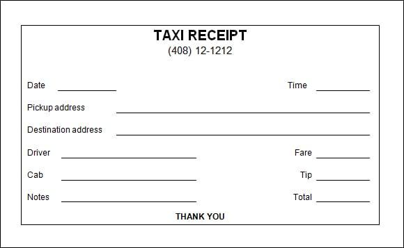 7+ Taxi receipt Templates