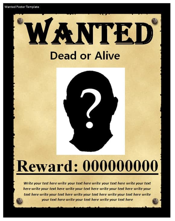 9 wanted poster templates word excel pdf formats