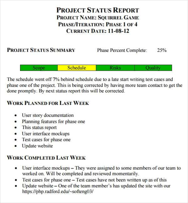 7 weekly status report templates word excel pdf formats weekly status report template word pronofoot35fo Images