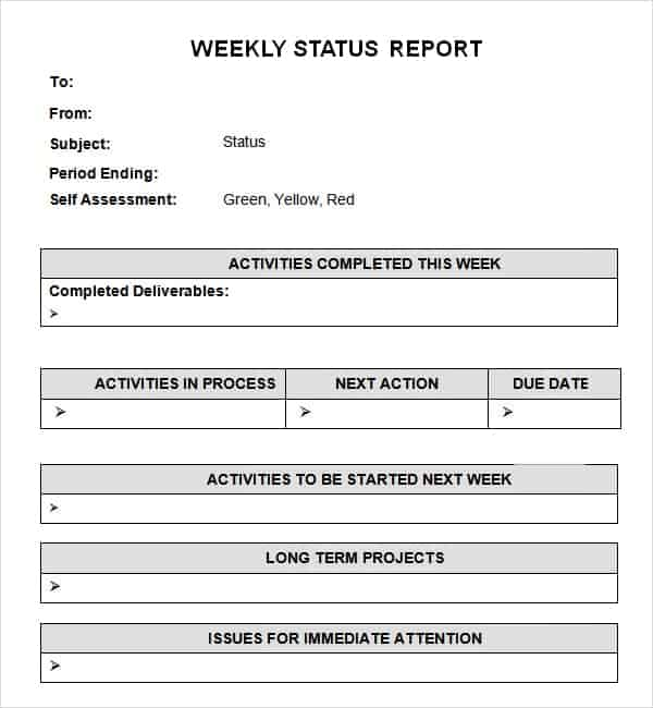 Weekly Status Report Template For Project Managers Archives - Word