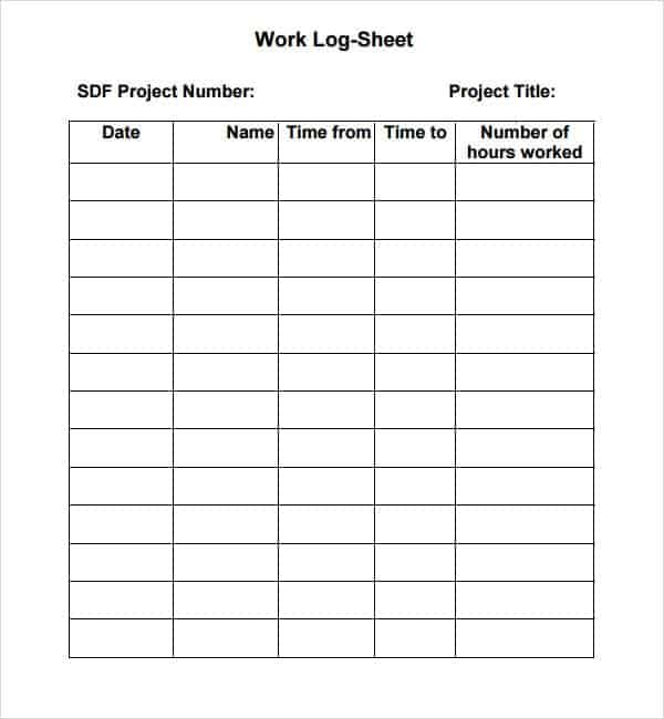 Work Log Format In Word Archives  Word Templates