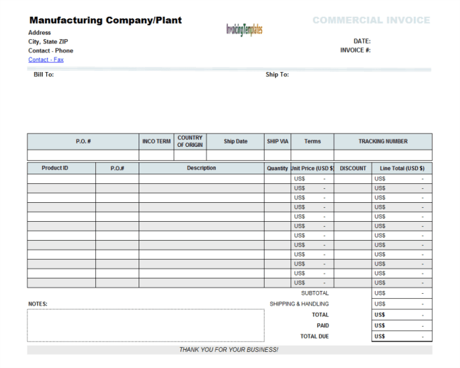 blank invoice template image 1