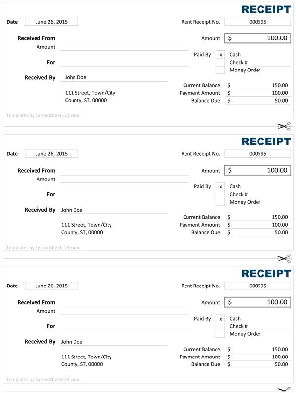 cash receipt template 2