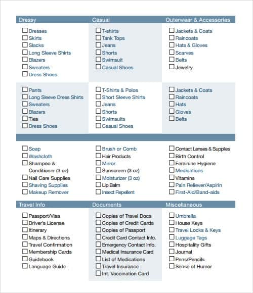 checklist template 13