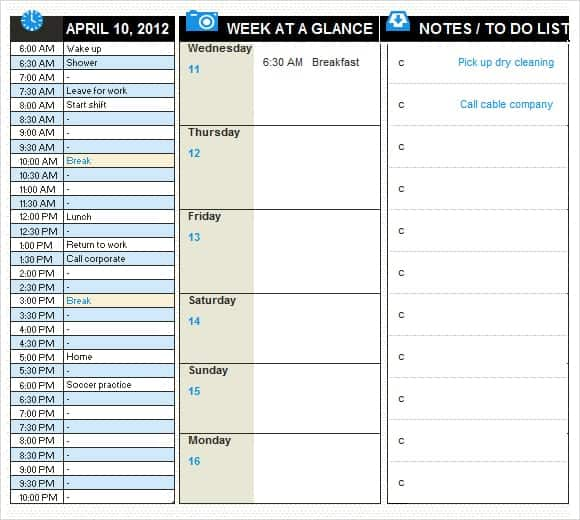 daily planner template 1