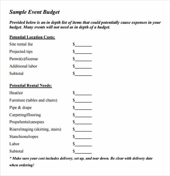 High Quality Sample Event Budget Sheet Template