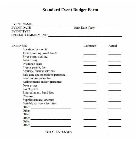 event budget template 4