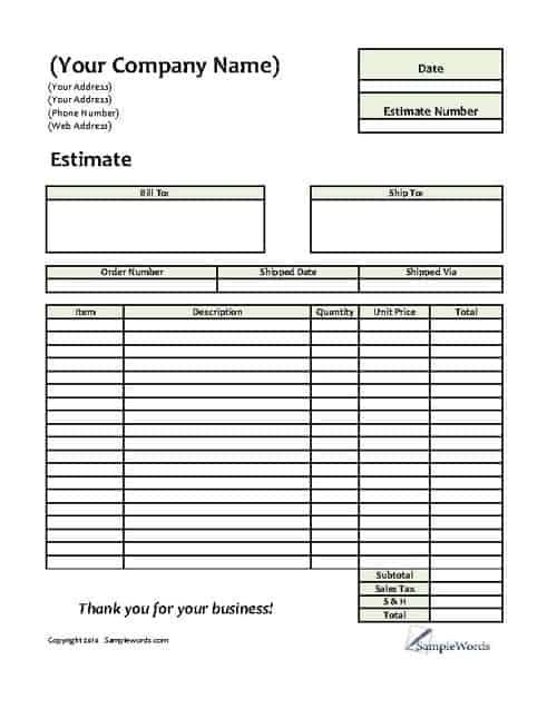 8+ Job Estimate Templates - Word Excel PDF Formats