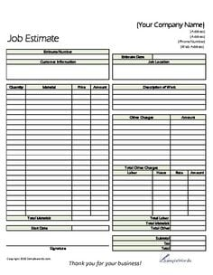 construction job estimate template