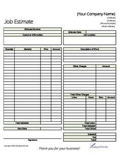 8+ Job Estimate Templates