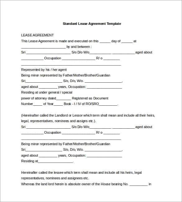 Lease Agreement Templates  Word Excel Pdf Formats
