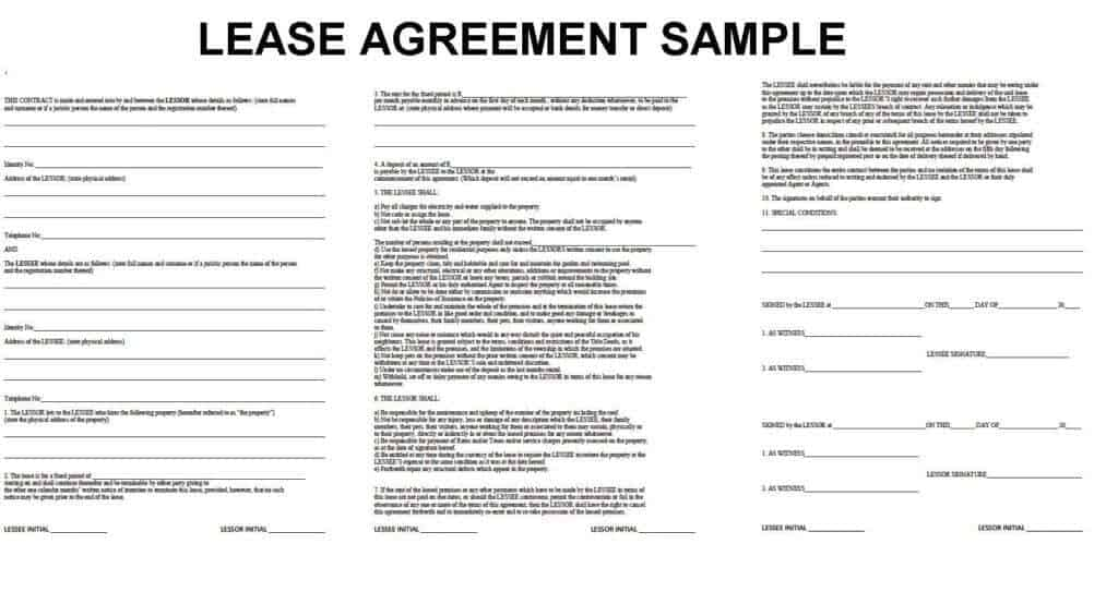 Property Lease Agreement Template rent receipt template doc sample – Lease Agreements Templates