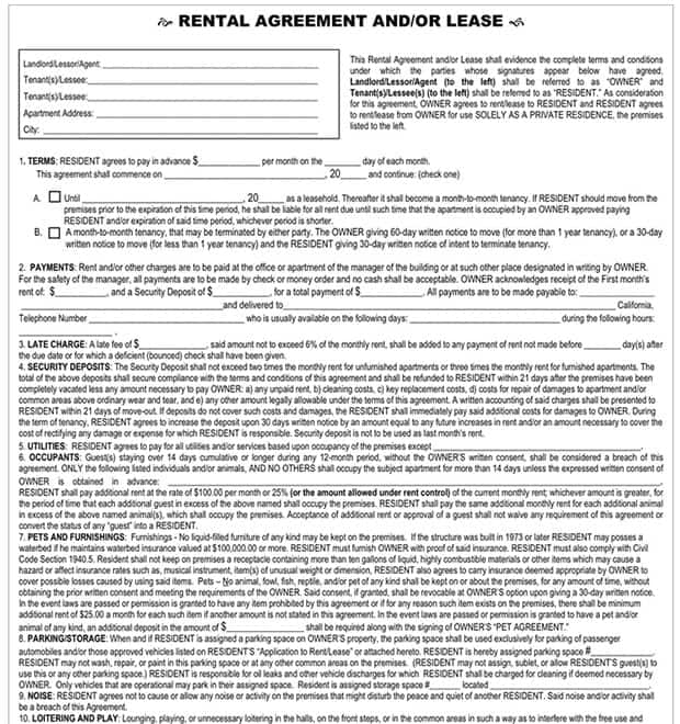 lease agreement template 5