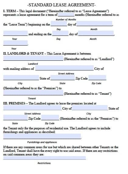 Residential Rental Agreement Templates  Free Sample