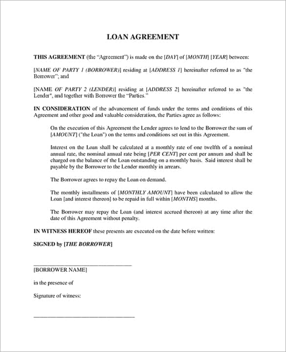 Loan Agreement Template 12  Interest Free Loan Agreement Template
