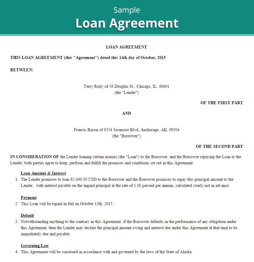 Loan Agreement Template 4  Loan Agreements Templates