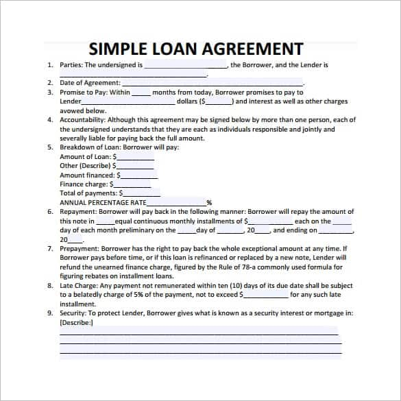 loan agreement template 9