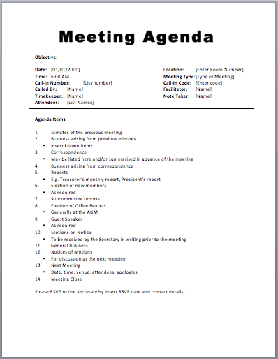 20+ Meeting Agenda Templates  Formal Meeting Agenda Template