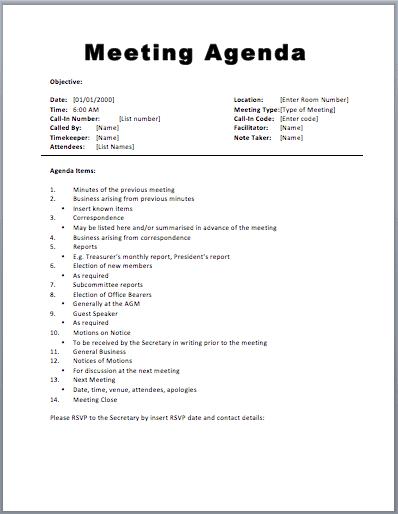 Perfect Meeting Agenda Template 1 Inside Format Of Meeting Agenda