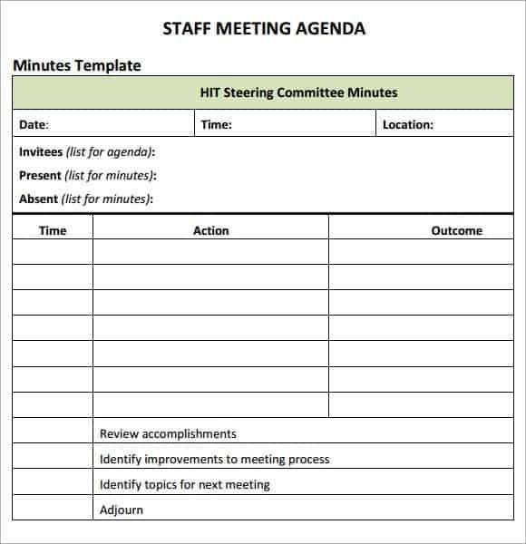 staff meeting agenda template