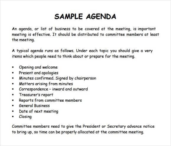 sample of agenda