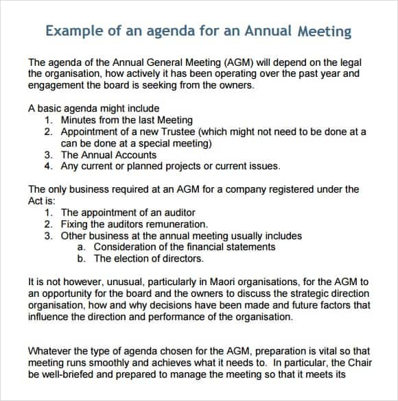 Meeting Agenda Template For Annual Meeting