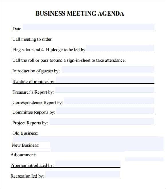 20 meeting agenda templates word excel pdf formats. Black Bedroom Furniture Sets. Home Design Ideas