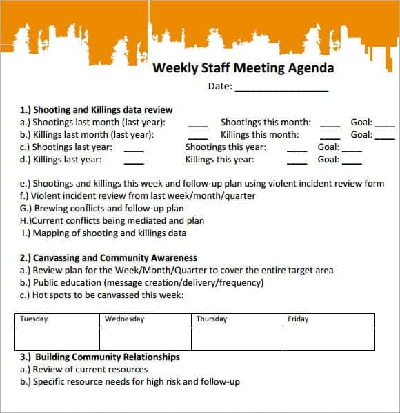 20 Meeting Agenda Templates Word Excel PDF Formats – Staff Meeting Agenda Sample