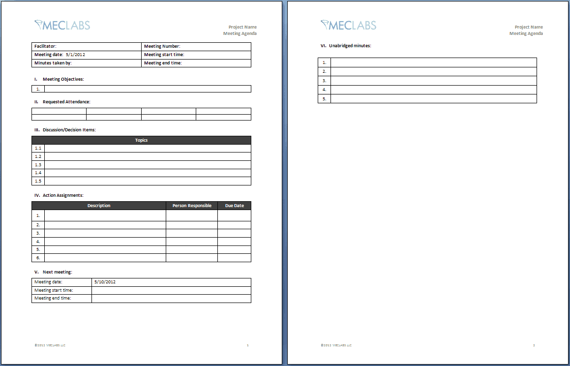 agenda template for a meeting