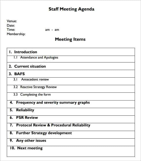 staff meeting agenda template free pacqco – Format of an Agenda