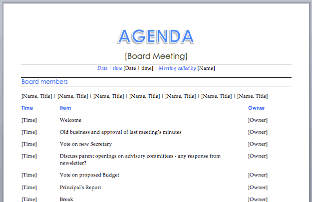 20+ Meeting Agenda Templates   Word Excel PDF Formats