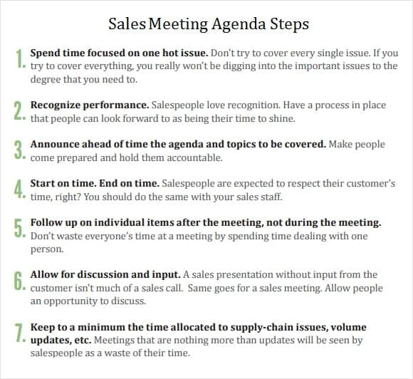 Meeting Agenda Template 6