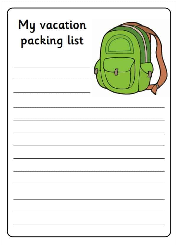 Vacation Packing List Template Archives  Word Templates