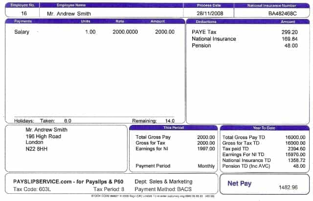 Payslip Template 7  Payslip Format In Excel Free Download