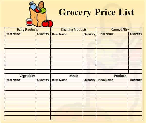 20 Price list templates Word Excel PDF Formats – Grocery List Template Excel Free Download