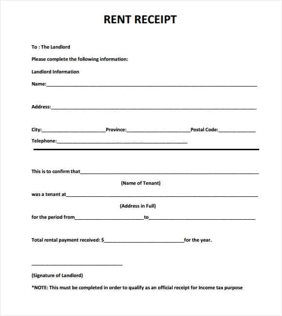 how to write a receipt for rent