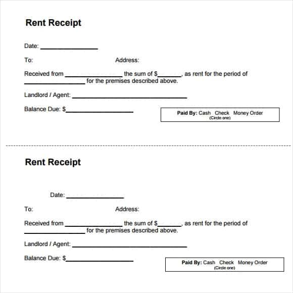 9 Rent Receipt Templates Word Excel PDF Formats – Rental Receipts Templates