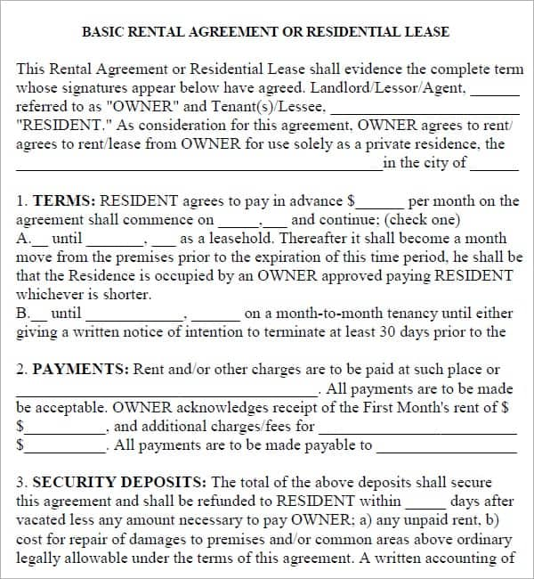 20 Rental Agreement Templates Word Excel PDF Formats – Apartment Rental Agreement Template Word