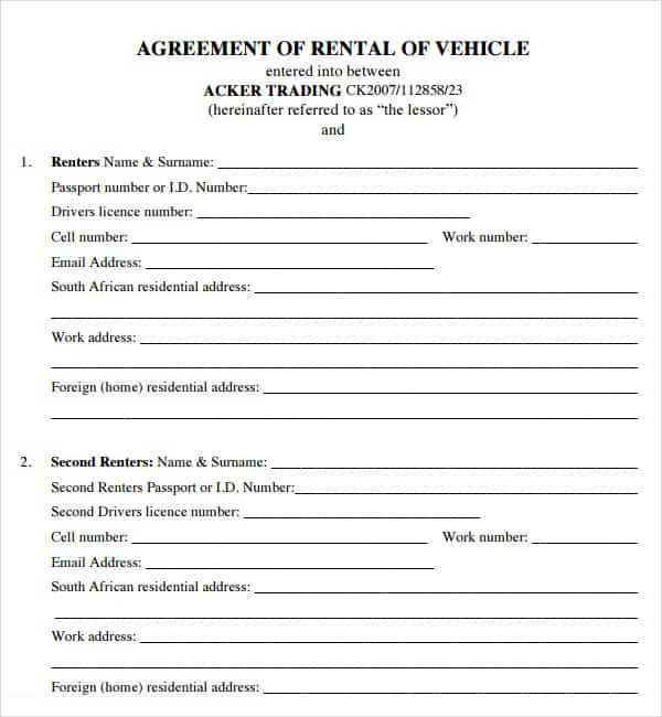 20 Rental Agreement Templates Word Excel PDF Formats – Car Rental Agreement Sample
