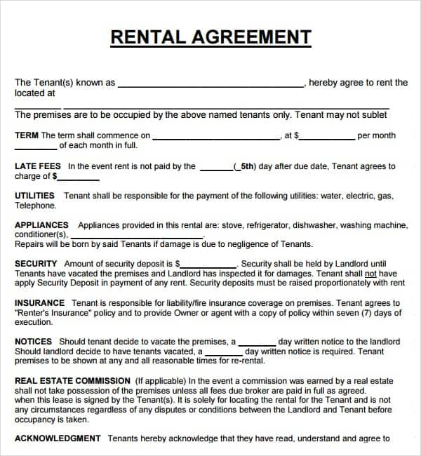 20 Rental Agreement Templates Word Excel PDF Formats – Blank Rental Agreements