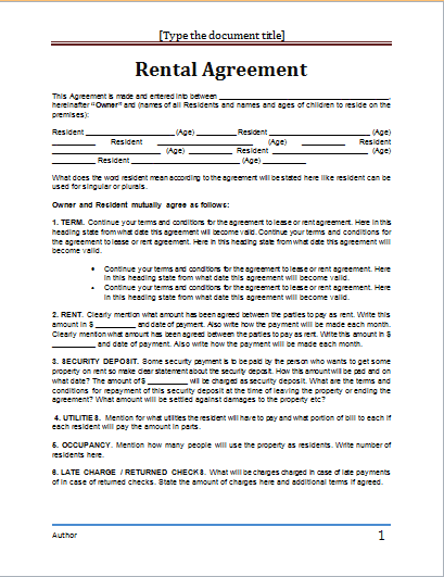20 Rental Agreement Templates Word Excel PDF Formats – Lease Agreement Example