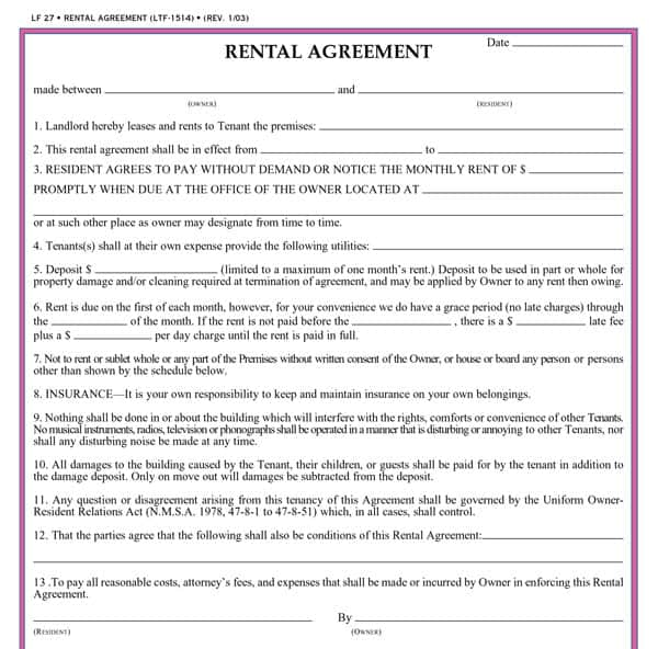 Printable Rental Contract – Rent to Own House Contract